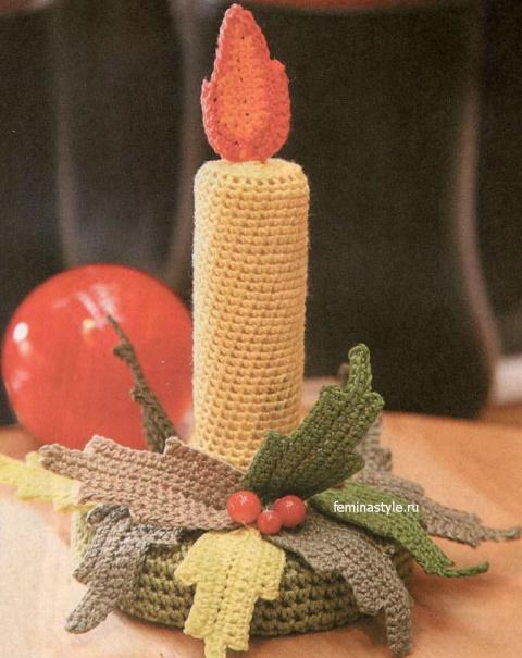 Новогодний декор для дома : свеча с подсвечником