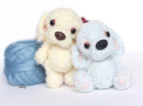 Вязаная игрушка Голубой щенок