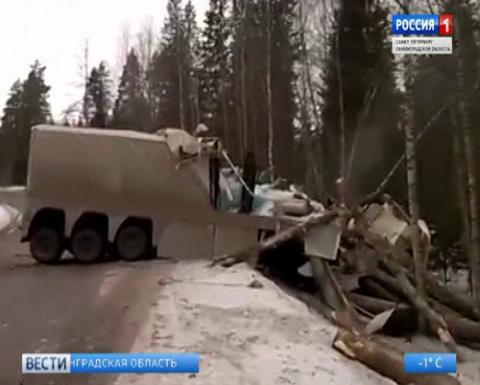 Под Выборгом столкнулись фура и лесовоз, оба водителя погибли