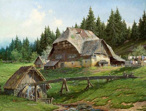 Домик в горах... Немецкий художник Karl Hauptmann