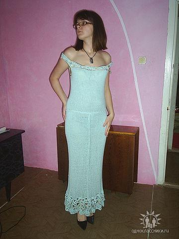 Платье (спицы и крючок)