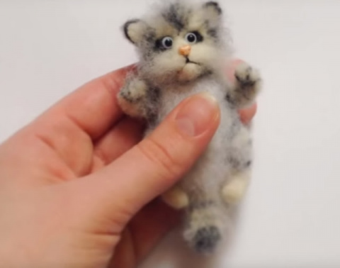 Валяние Котенка - брошки