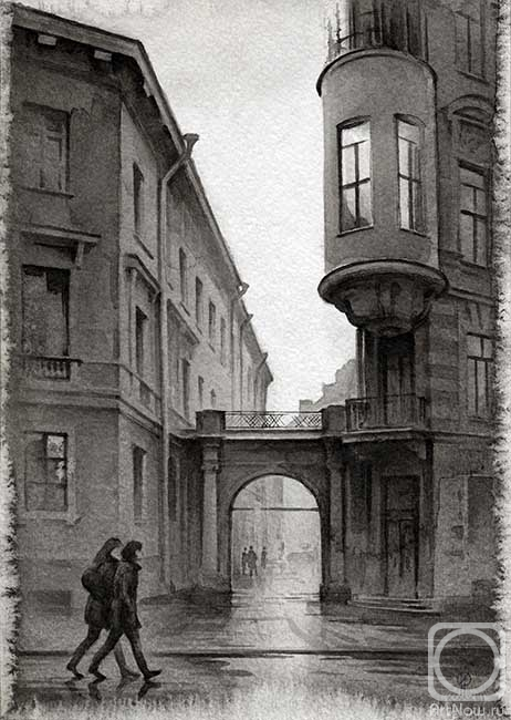 Уехать в дождь... Графика Олега Ильдюкова