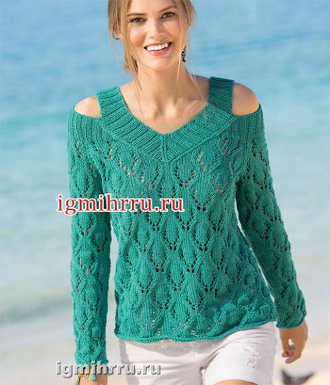 Ажурный пуловер с вырезами на плечах