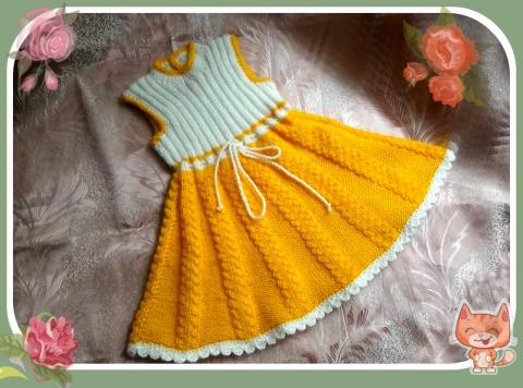 Платье-сарафан для девочки 2-3 лет ( спицы)