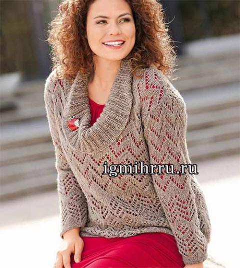 Ажурный пуловер с большим воротником