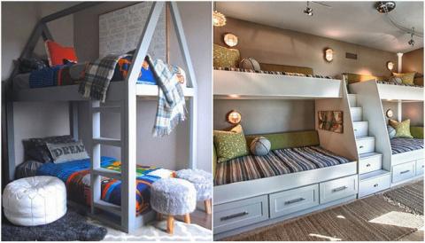 Примеры двухъярусных детских кроватей, которые сэкономят место в комнате