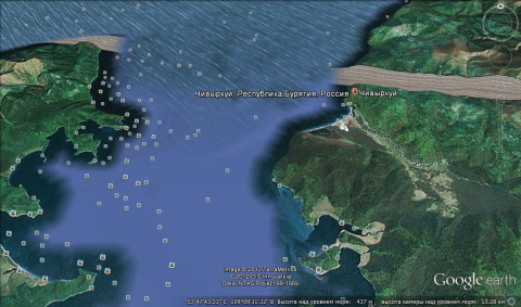 что прячет google earth возле залива Чивыркуй?