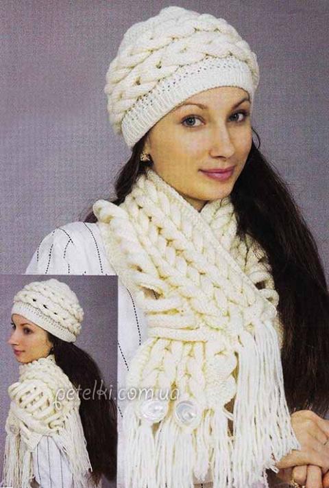 шапочка и шарф из кос