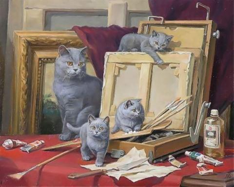 Художник Святослав Новосадюк и его очаровательные кошки
