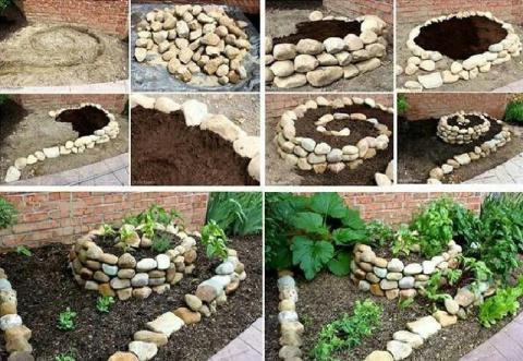 Простая идея от умелого садовода, как оформить клумбу с помощью обычных камней. Всё понравилось!