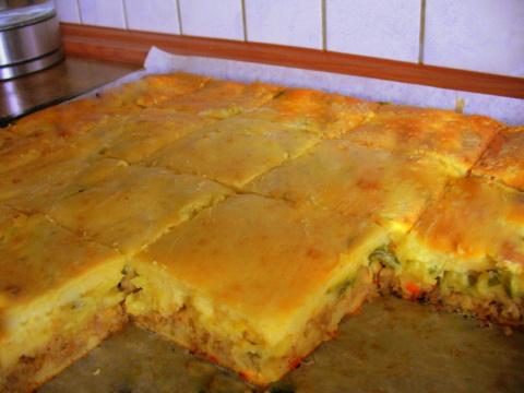 быстрый пирог с фаршем картошкой и грибами