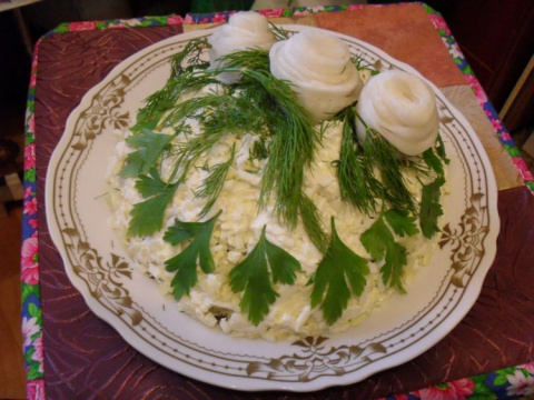 Салат Три белых розы