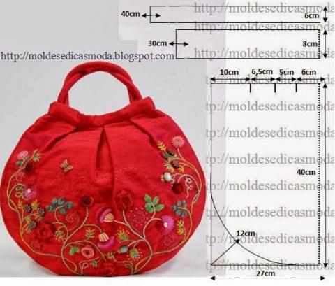 Красная сумка с вышивкой