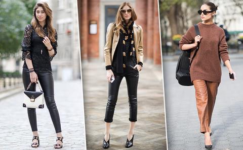 С чем носить кожаные брюки: 20 неожиданных модных идей для тебя
