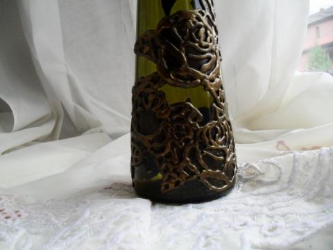 Декор бутылок с шпаклевки