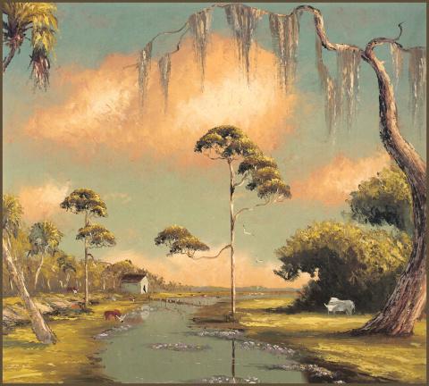 Тропический пейзаж/Американский художник Гарольд Ньютон
