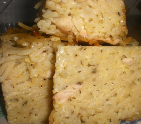 Запеканка из макарон с курицей