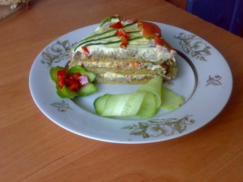Кабачково-баклажанный торт
