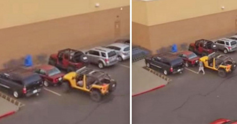 Он нагло занял место на парковке перед носом у джипа. Вернувшись обратно, водитель потерял дар речи!
