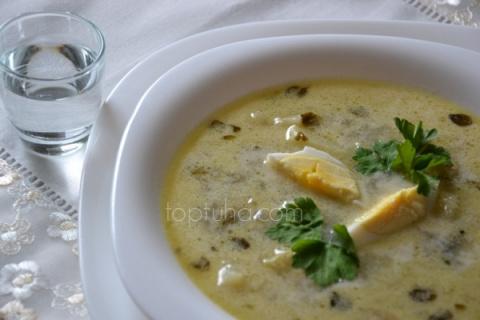 Суп из запечённого кабачка с горчицей и виноградным маслом