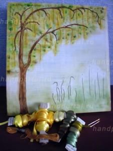 Вышивка лентами картины «Золотой дождь» (часть 2)
