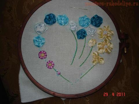 Практический урок по вышивке лентами. Часть 3