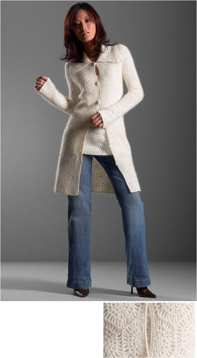 Нежное пальто-кардиган из мотивов