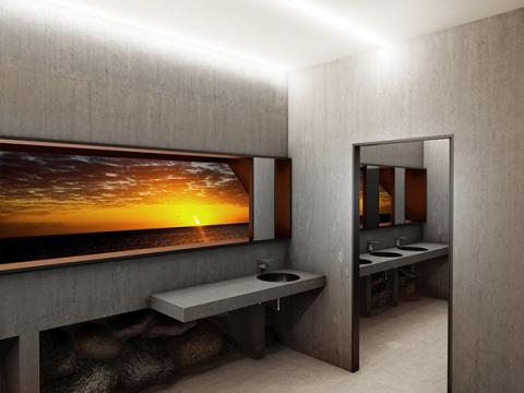 Туалет с панорамным окном