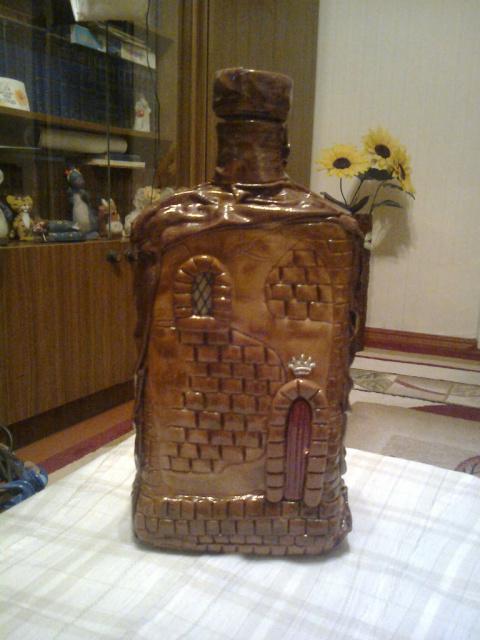 Бутылка-домик (холодный фарфор). МК
