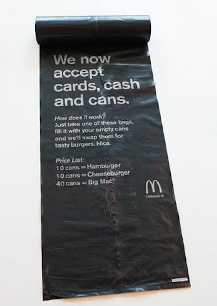 McDonald's меняет еду на мусор