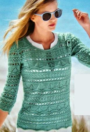 Очаровательный ажурный пуловер