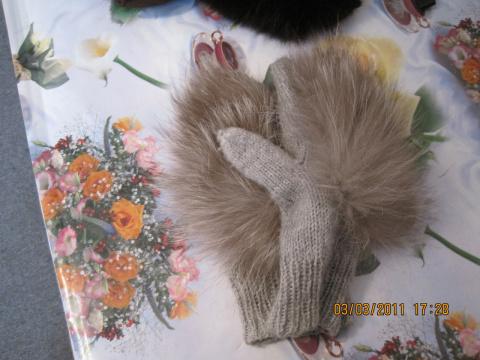 Варежки детские вязаные мех норки в