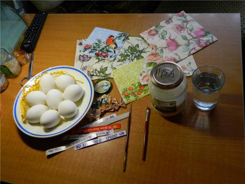 Декупаж пасхальных яиц (Быстрый МК)
