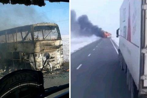 В Казахстане в автобусе сгор…