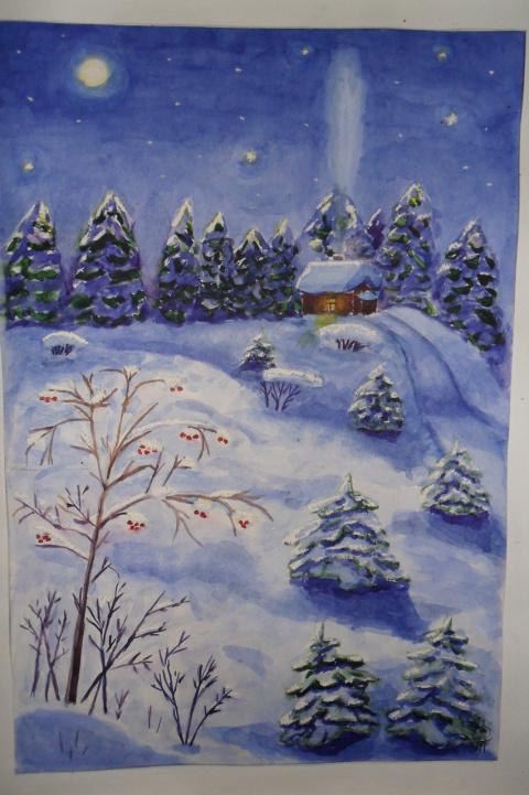 Акварель Рождественская ночь