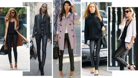 С чем носить кожаные брюки: 18 эффектных образов