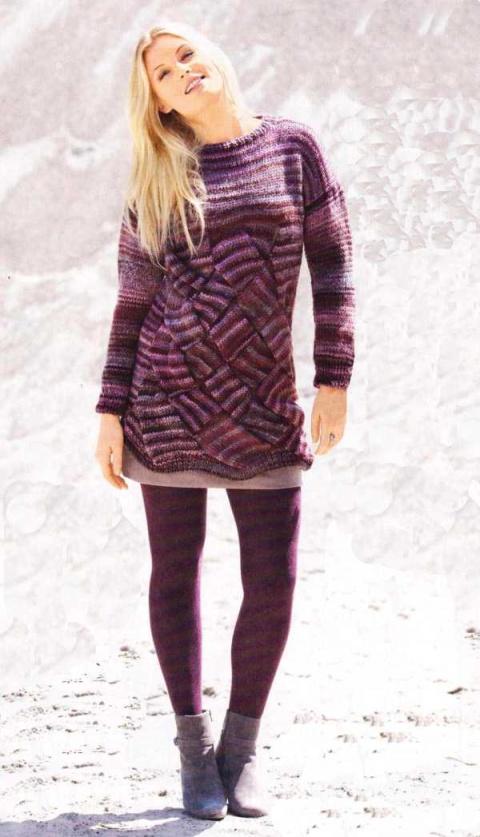 Пуловер с крупным плетеным узором