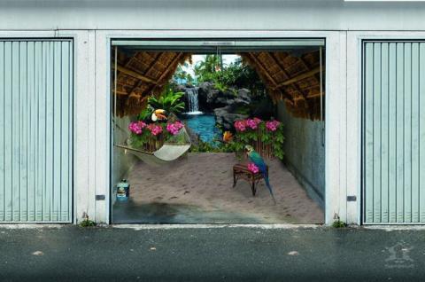 3D рисунки на гаражных воротах