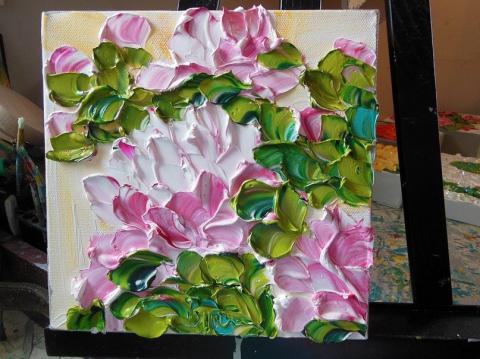 Трехмерные цветы из краски а…