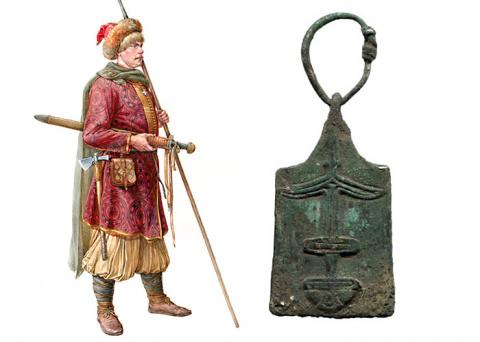 Древнерусская геральдическая подвеска «мечника» с изображением трезубца Владимира Святославича