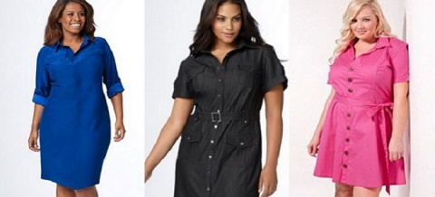 Платья-рубашки для полных женщин