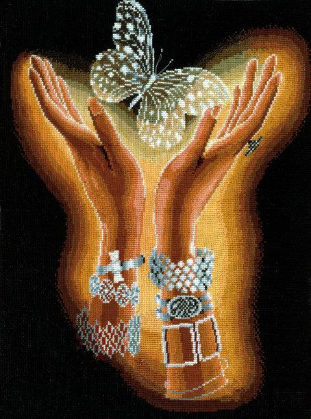 Схема вышивки хрустальная бабочка