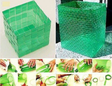 Интересный способ - плетение корзины из пластиковой бутылки.
