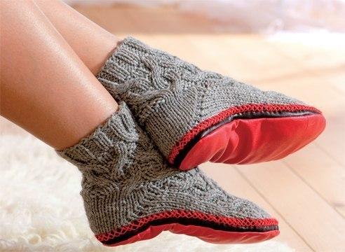 мастера и умники тапочки носки или носки с подошвой вяжем спицами