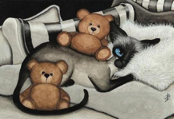 Открытки с кошками и медвежатами, рождения