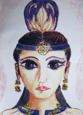 Удэйэ Алтайская принцесса  (На портрете Алтайская принцесса изображена не в тех одеждах, в которых ее захоронили. Ее захоронили в специальных одеждах, в которых она никогда не ходила при жизни. На этом портрете же она - в одеянии жрицы кристалла)