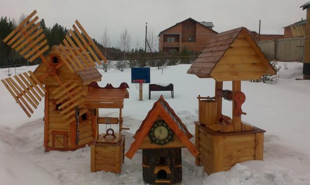 мельница, колодцы, домик