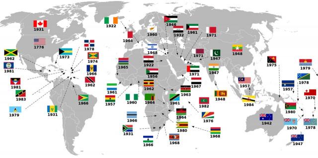 Год обретения независимости от Великобритании на карте Мира